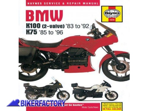 BikerFactory Libro  Manuale di riparazione %22BMW K100 %282 valve%29 %2783 to %2792 %26 K75 %2785 to %2796 Service and Repair Mainual%22 Nuovo IN INGLESE 9781859602669 1043691