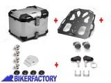 BikerFactory Kit portapacchi %28STEEL RACK%29 e bauletto TOP CASE %2838 lt%29 in alluminio SW Motech TRAX ADVENTURE colore ARGENTO BAD.22.139.20002 S 1033479