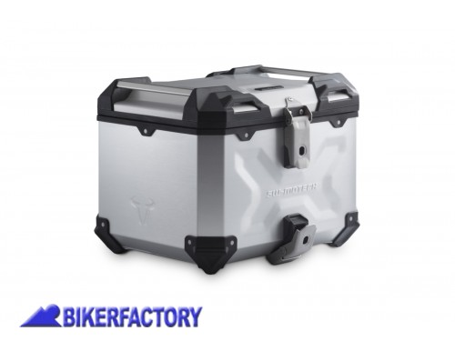BikerFactory Kit portapacchi ADVENTURE RACK e bauletto TOP CASE 38 lt in alluminio SW Motech TRAX ADVENTURE colore argento per BMW R 1200 GS LC Adv BMW R 1250 GS Adv GPT.07.904.70000 S 1044499