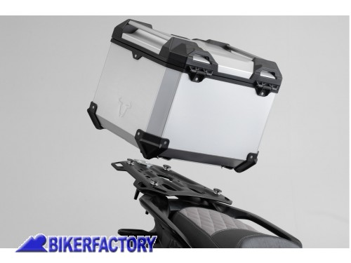 BikerFactory Kit portapacchi ADVENTURE RACK e bauletto TOP CASE 38 lt in alluminio SW Motech TRAX ADVENTURE colore argento per HONDA CRF 1000 L Africa Twin Adventure Sports GPT.01.890.70000 S 1039078
