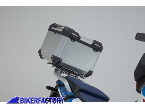 BikerFactory Kit portapacchi ADVENTURE RACK e bauletto TOP CASE 38 lt in alluminio SW Motech TRAX ADVENTURE colore argento per HONDA CRF 1100 L Africa Twin Adventure Sports GPT.01.942.70000 S 1043889