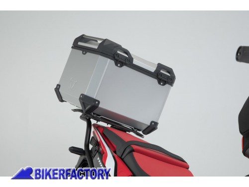 BikerFactory Kit portapacchi ADVENTURE RACK e bauletto TOP CASE 38 lt in alluminio SW Motech TRAX ADVENTURE colore argento per HONDA CRF 1100 L Africa Twin GPT.01.950.70000 S 1044042