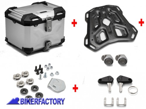 BikerFactory Kit portapacchi ADVENTURE RACK e bauletto TOP CASE 38 lt in alluminio SW Motech TRAX ADVENTURE colore argento per TRIUMPH Tiger 800 XC XCx XCa XR XRx XRT GPT.11.747.70001 S 1040143