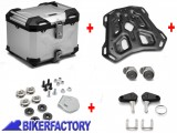 BikerFactory Kit portapacchi ADVENTURE RACK e bauletto TOP CASE 38 lt in alluminio SW Motech TRAX ADVENTURE colore argento x BMW G 310 GS BAD.07.862.19000 S 1038789