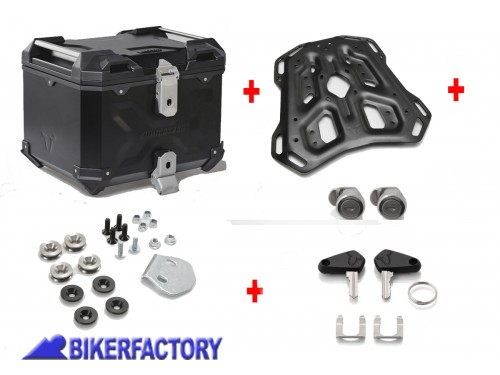 BikerFactory Kit portapacchi ADVENTURE RACK e bauletto TOP CASE 38 lt in alluminio SW Motech TRAX ADVENTURE colore nero per BMW R 1200 GS LC Adventure Rally e R 1250 GS Adventure GPT.07.782.70001 B 1039500