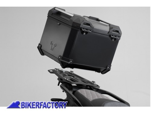 BikerFactory Kit portapacchi ADVENTURE RACK e bauletto TOP CASE 38 lt in alluminio SW Motech TRAX ADVENTURE colore nero per HONDA CRF 1000 L Africa Twin Adventure Sports GPT.01.890.70000 B 1039077