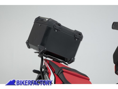 BikerFactory Kit portapacchi ADVENTURE RACK e bauletto TOP CASE 38 lt in alluminio SW Motech TRAX ADVENTURE colore nero per HONDA CRF 1100 L Africa Twin GPT.01.950.70000 B 1044041