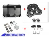 BikerFactory Kit portapacchi ADVENTURE RACK e bauletto TOP CASE 38 lt in alluminio SW Motech TRAX ION colore argento per HONDA CRF1100L Africa Twin BAU.01.950.19000 S 1044044