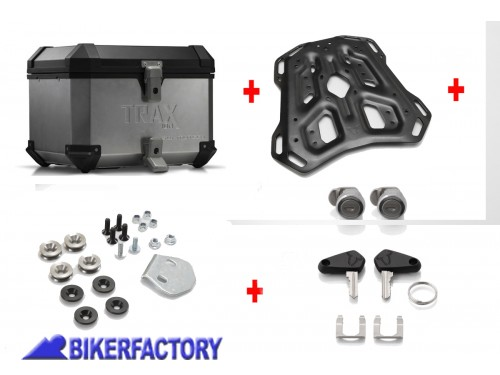 BikerFactory Kit portapacchi ADVENTURE RACK e bauletto TOP CASE 38 lt in alluminio SW Motech TRAX ION colore argento x KTM Adventure BAU.04.790.19000 S 1024497