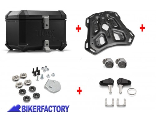 BikerFactory Kit portapacchi ADVENTURE RACK e bauletto TOP CASE 38 lt in alluminio SW Motech TRAX ION colore nero per BMW S 1000 XR BAU.07.592.19100 B 1033473