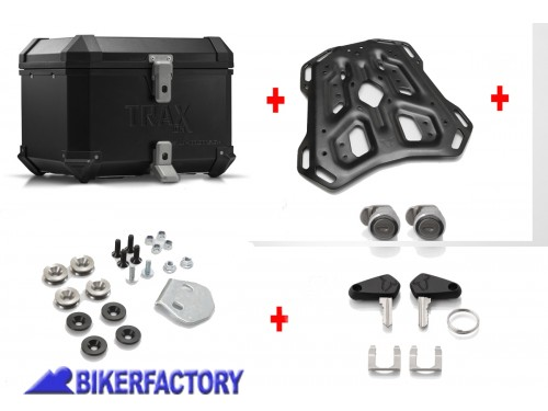 BikerFactory Kit portapacchi ADVENTURE RACK e bauletto TOP CASE 38 lt in alluminio SW Motech TRAX ION colore nero per HONDA CRF1100L Africa Twin BAU.01.950.19000 B 1044043