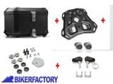 BikerFactory Kit portapacchi ADVENTURE RACK e bauletto TOP CASE 38 lt in alluminio SW Motech TRAX ION colore nero per SUZUKI V Strom 650 XT e V Strom 1000 X BAU.05.440.19000 B 1033747