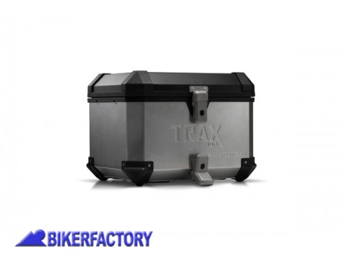 BikerFactory Kit portapacchi ADVENTURE RACK e bauletto TOP CASE 38 lt in alluminio SW Motech mod. TRAX ION colore argento per TRIUMPH Tiger 900 GT Rally Pro %28con portapacchi originale%29 BAU.11.953.19000 S 1044505
