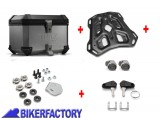 BikerFactory Kit portapacchi ADVENTURE RACK e bauletto TOP CASE 38 lt in alluminio SW Motech mod. TRAX ION colore argento x BMW S 1000 XR BAU.07.592.19100 S 1033474
