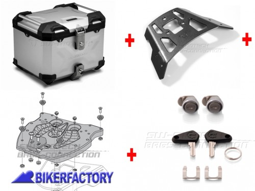 BikerFactory Kit portapacchi ALU RACK e bauletto TOP CASE 38 lt in alluminio SW Motech TRAX ADVENTURE colore argento per BMW F 650 GS TWIN F 700 GS F 800 GS F 800 GS Adventure BAD.07.558.15000 S 1040347