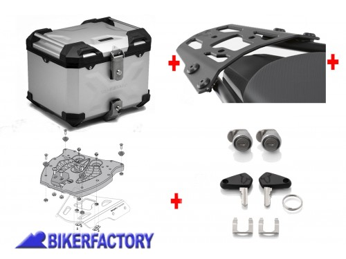 BikerFactory Kit portapacchi ALU RACK e bauletto TOP CASE 38 lt in alluminio SW Motech TRAX ADVENTURE colore argento per YAMAHA MT 03 BAD.06.546.15000 S 1036606