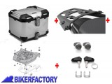BikerFactory Kit portapacchi ALU RACK e bauletto TOP CASE 38 lt in alluminio SW Motech TRAX ADVENTURE colore argento x HONDA CBF 125 BAD.01.693.15000 S 1037407