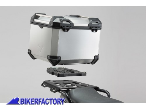BikerFactory Kit portapacchi ALU RACK e bauletto TOP CASE 38 lt in alluminio SW Motech TRAX ADVENTURE colore argento x TRIUMPH Sprint ST 1050 e Tiger 1050 SE GPT.11.527.70000 S 1036738