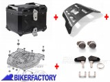 BikerFactory Kit portapacchi ALU RACK e bauletto TOP CASE 38 lt in alluminio SW Motech TRAX ADVENTURE colore nero per BMW R 850 1100 1150 GS BAD.07.337.15000 B 1037927