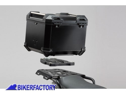 BikerFactory Kit portapacchi ALU RACK e bauletto TOP CASE 38 lt in alluminio SW Motech TRAX ADVENTURE colore nero per TRIUMPH Tiger Explorer 1200 GPT.11.482.70000 B 1036736