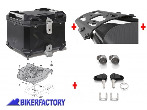 BikerFactory Kit portapacchi ALU RACK e bauletto TOP CASE 38 lt in alluminio SW Motech TRAX ADVENTURE colore nero per YAMAHA MT 03 BAD.06.546.15000 B 1036605