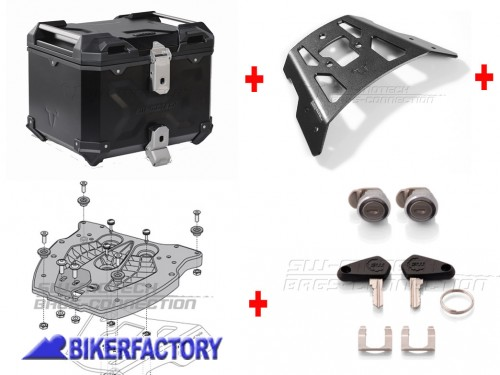 BikerFactory Kit portapacchi ALU RACK e bauletto TOP CASE 38 lt in alluminio SW Motech TRAX ADVENTURE colore nero per YAMAHA XT1200Z ZE Super T%C3%A9n%C3%A9r%C3%A9 %28%2710 %2713%29 BAD.06.148.15000 B 1041346