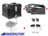 BikerFactory Kit portapacchi ALU RACK e bauletto TOP CASE 38 lt in alluminio SW Motech TRAX ADVENTURE colore nero x HONDA XL 125 V Varadero XL 650 V Transalp XRV 750 Africa Twin XL 1000 V Varadero BAD.01.336.100 B 1037904