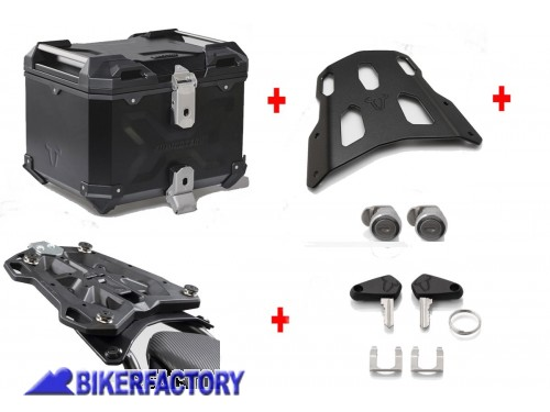 BikerFactory Kit portapacchi ALU RACK e bauletto TOP CASE 38 lt in alluminio SW Motech TRAX ADVENTURE colore nero x YAMAHA MT 07 Tracer BAD.06.593.15000 B 1034668