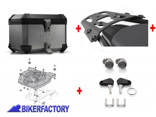 BikerFactory Kit portapacchi ALU RACK e bauletto TOP CASE 38 lt in alluminio SW Motech TRAX ION colore argento x BMW R 1150 GS Adventure BAU.07.726.10000 S 1037465
