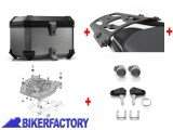 BikerFactory Kit portapacchi ALU RACK e bauletto TOP CASE 38 lt in alluminio SW Motech TRAX ION colore argento x KAWASAKI Versys X 300 ABS BAU.08.875.15000 S 1037127