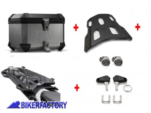BikerFactory Kit portapacchi ALU RACK e bauletto TOP CASE 38 lt in alluminio SW Motech TRAX ION colore argento x YAMAHA MT 07 Tracer BAU.06.593.15000 S 1034671