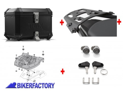 BikerFactory Kit portapacchi ALU RACK e bauletto TOP CASE 38 lt in alluminio SW Motech TRAX ION colore nero x BMW R 1200 RT K 1600 GT GTL BAU.07.734.10000 B 1044260