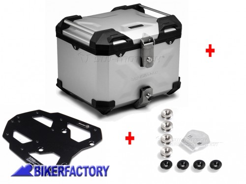 BikerFactory Kit portapacchi STEEL RACK e bauletto TOP CASE 38 lt in alluminio SW Motech TRAX ADVENTURE colore argento per BMW R 1200 GS %28%2704 %2712%29 BAD.07.352.20003 S 1042331