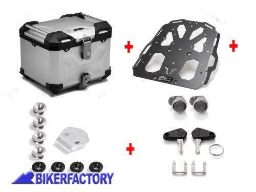 BikerFactory Kit portapacchi STEEL RACK e bauletto TOP CASE 38 lt in alluminio SW Motech TRAX ADVENTURE colore argento per TRIUMPH Tiger Explorer 1200 BAD.11.482.20002 S 1036735