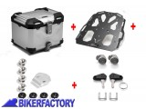 BikerFactory Kit portapacchi STEEL RACK e bauletto TOP CASE 38 lt in alluminio SW Motech TRAX ADVENTURE colore argento x HONDA VFR 1200 X Crosstourer BAD.01.661.20003 S 1036720