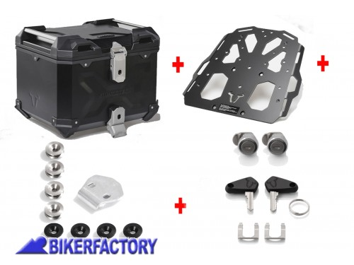 BikerFactory Kit portapacchi STEEL RACK e bauletto TOP CASE 38 lt in alluminio SW Motech TRAX ADVENTURE colore nero per TRIUMPH Tiger Explorer 1200 BAD.11.482.20002 B 1036734