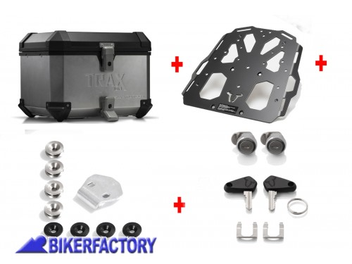 BikerFactory Kit portapacchi STEEL RACK e bauletto TOP CASE 38 lt in alluminio SW Motech TRAX ION colore argento per TRIUMPH Tiger Explorer 1200 BAU.11.482.20002 S 1034082