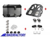 BikerFactory Kit portapacchi STEEL RACK e bauletto TOP CASE 38 lt in alluminio SW Motech TRAX ION colore argento x BMW R 850 1100 1150 GS BAU.07.337.20003 S 1033685