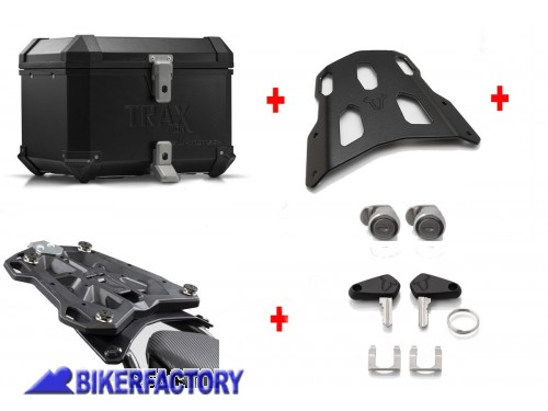 BikerFactory Kit portapacchi STEEL RACK e bauletto TOP CASE 38 lt in alluminio SW Motech TRAX ION colore nero per HONDA NC 750 S SD HONDA NC 750 X XD BAU.01.699.16001 B 1034196