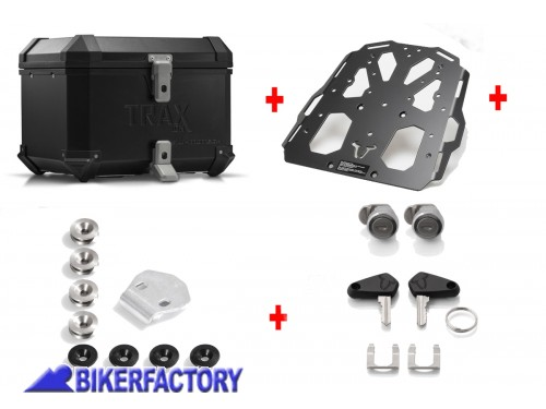 BikerFactory Kit portapacchi STEEL RACK e bauletto TOP CASE 38 lt in alluminio SW Motech TRAX ION colore nero per HONDA VFR 1200 X Crosstourer BAU.01.661.20003 B 1033741