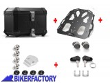 BikerFactory Kit portapacchi STEEL RACK e bauletto TOP CASE 38 lt in alluminio SW Motech TRAX ION colore nero per TRIUMPH Tiger Explorer 1200 BAU.11.482.20002 B 1034081