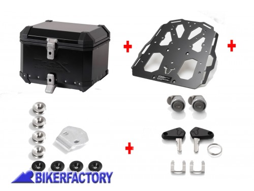 BikerFactory Kit portapacchi STEEL RACK e bauletto TOP CASE 38 lt in alluminio SW Motech TRAX ION colore nero x DUCATI Multistrada 1200 S Hyperstrada 821 939 e Hypermotard 939 SP BAU.22.139.20003 B 1033733