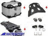 BikerFactory Kit portapacchi STREET RACK e bauletto TOP CASE 38 lt in alluminio SW Motech TRAX ADVENTURE colore argento per SUZUKI V Strom 250 BAD.05.908.16000 1041026
