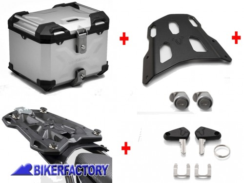 BikerFactory Kit portapacchi STREET RACK e bauletto TOP CASE 38 lt in alluminio SW Motech TRAX ADVENTURE colore argento per SUZUKI V Strom 250 BAD.05.908.16000 S 1041026