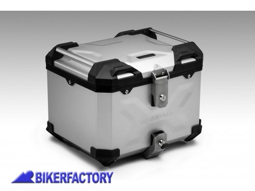 BikerFactory Kit portapacchi STREET RACK e bauletto TOP CASE 38 lt in alluminio SW Motech TRAX ADVENTURE colore argento per TRIUMPH Tiger 1050 Sport BAD.11.441.16000 S 1044554