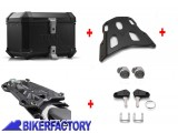 BikerFactory Kit portapacchi STREET RACK e bauletto TOP CASE 38 lt in alluminio SW Motech TRAX ION colore nero per TRIUMPH Speed Triple 1050 S RS BAU.11.901.16000 B 1039703