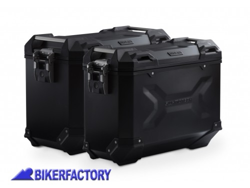BikerFactory Kit borse laterali in alluminio SW Motech TRAX ADVENTURE 45 37 colore nero con telai PRO per BMW R 1200 GS LC Adventure Rallye e R 1250 GS KFT.07.664.70009 B 1032611