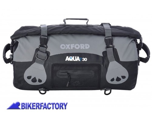 BikerFactory Borsa impermeabile OXFORD Aqua T30 colore antracite nero 30 lt OXF.00.OL990 1033534