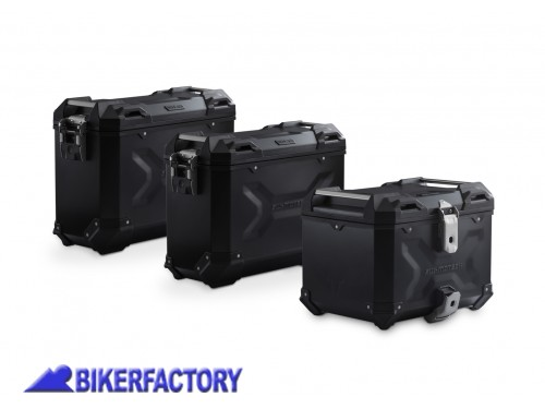 BikerFactory Kit avventura bagagli %28borse laterali e bauletto%29 TRAX ADVENTURE SW Motech colore nero per Honda CRF 1000 L Africa Twin Adventure Sports ADV.01.890.75100 B 1039080