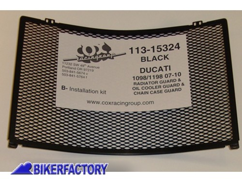 BikerFactory Kit Griglia Protezione radiatori moto Cox Racing Group per Ducati 1098 1198 COX22.113 15324 1019490